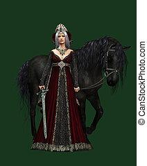 dame, van, het kasteel, met, zwart paard, 3d, cg, ca