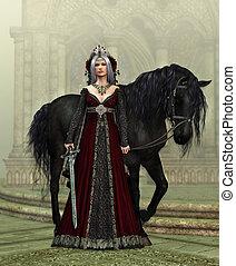 dame, van, het kasteel, met, zwart paard, 3d, cg