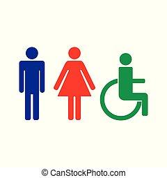 dame, vecteur, illustration, signe, handicapé, toilette, homme