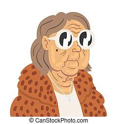 dame, vector, illustratie, vrouw, kleren, senior, mode, elegant, modieus, karakter, oud, vervelend