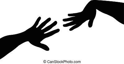 dame, vector, silhouette, handen