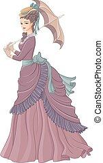 dame, viktorianische , antikes , stil, vect, umbrella., mode, angezogene