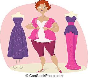 dame, voll, kleiden, choosees