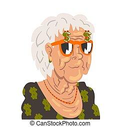 dame vrouw, vector, karakter, illustratie, kleren, senior, oud, modieus, vervelend