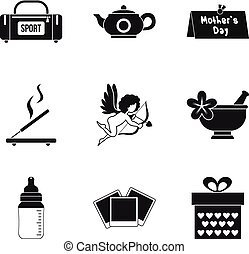 Dame welfare icons set, simple style
