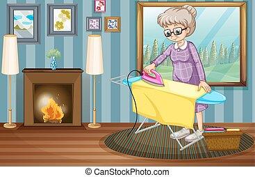 dame, woning, kleren, oud, ironing