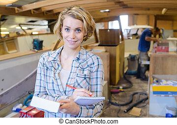 dame, yard, bateau, bloc-notes