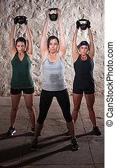 damen, auflösen gewichten, in, stiefel, lager, workout
