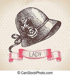 damen, hintergrund., weinlese, skizze, hand, elegant, hat.,...