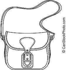 damen, mode, illustration., väska, vektor, kontur