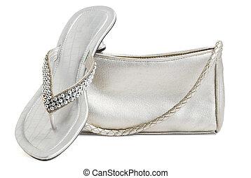 damen, portmonnä, skor, &