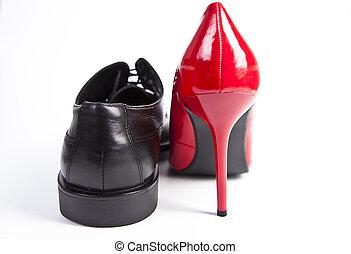 Damen und Herrenschuh - Kleidung,Schuhe,rot,schwarz