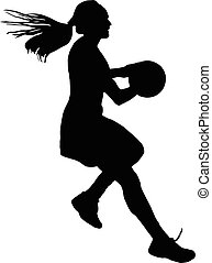 dames, balle, silhouette, filles, netball, joueur, courant