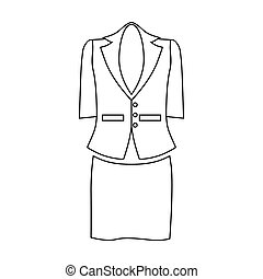 dames, contour, business, style, complet, icône, femmes