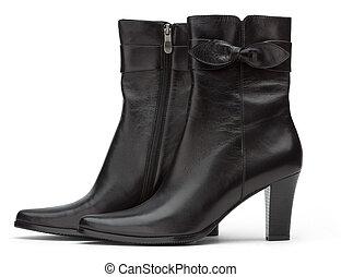 dames, court, noir, bottes