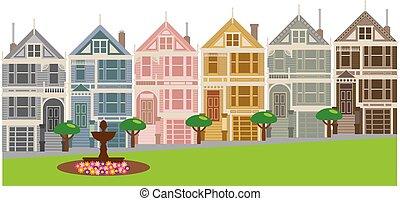 dames, francisco, san, geverfde, illustratie, huisen, roeien