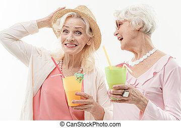 dames, het genieten van, oud, vakantie, mooi
