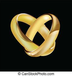 dames, ineengestrengelde, ringen, mens, trouwfeest, paar