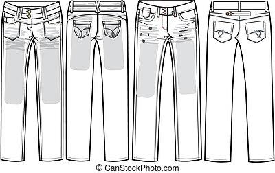 dames, jean, maigre