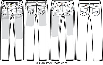 dames, jeans, magere