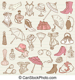 dames, mode, griffonnage, -, accessoires, collection, main, vecteur, dessiné