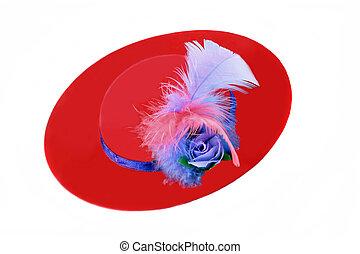 dames, pourpre, plumes, amd, chapeau, rouges