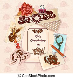 dames, scrapbooking, set