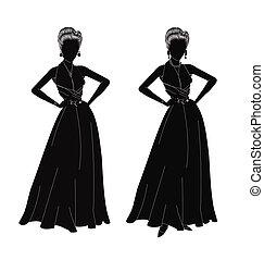 dames, silhouette
