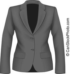 dames, zwart kostuum, jacket.