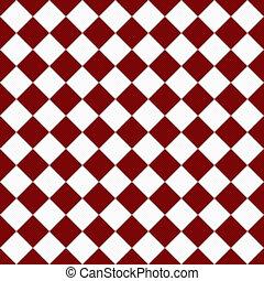 damespiel, stoff, seamless, diagonal, dunkler hintergrund, textured, weißes, wiederholungen, rotes