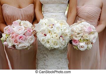 damigelle onore, spose, matrimonio, mazzolini