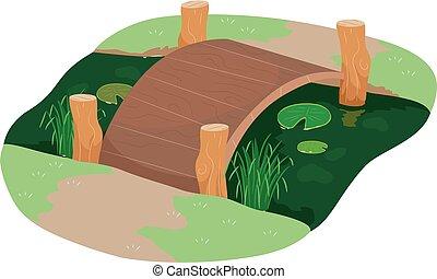 damm, bro, trädgård, illustration