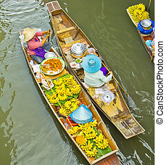 damnoen, bangkok, tailandia, galleggiante, saduak, mercato
