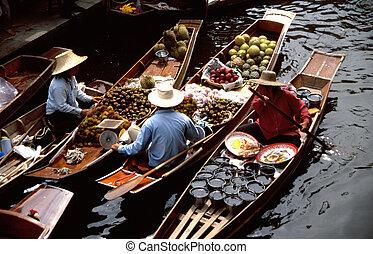 damnoen, galleggiante, saduak, mercati