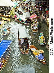 damnoen saduak marché flottant, près, bangkok, dans,...