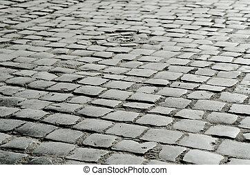Damp cobble-stone