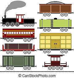 damp, lokomotiv, tog satte