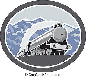 damp tog, lokomotiv, bjerge, retro