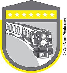 damp tog, lokomotiv, retro, skjold