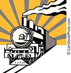 damp tog, lokomotiv, sunburst, retro