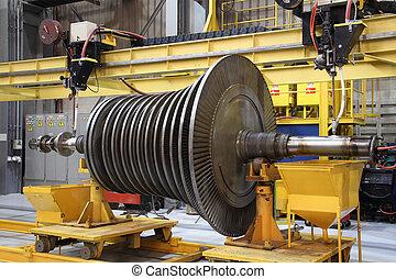 damp, turbine, hos, den, værksted