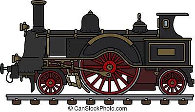 dampflokomotive, weinlese, schwarz