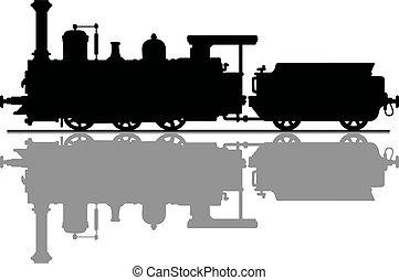 dampflokomotive, weinlese