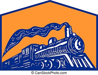 dampflokomotive, zug, kommen, wappen, retro