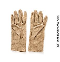 damski, fason, odizolowany, damski, tekstylny, rękawiczki