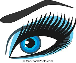 damski, oczy, błękitny