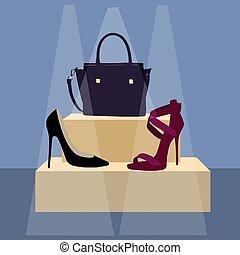 damski, przybory, poster., mnóstwo, i, wysoki, heeled, damski, shoes.