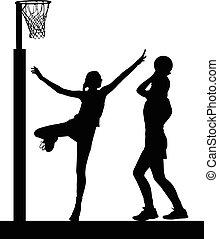 damski, sylwetka, gol, dziewczyny, netball, gracze, skokowy, bloking