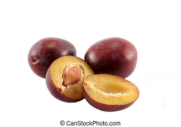 Damson plums - Whole and cut with stone damson plums