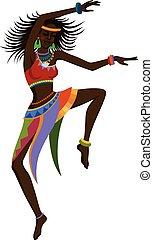 dança, étnico, mulher, africano